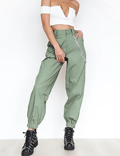 abordables Pantalons Femme-Femme Sportif Pantalon cargo Pantalon - Couleur Pleine Taille haute Blanche Noir Kaki L XL XXL