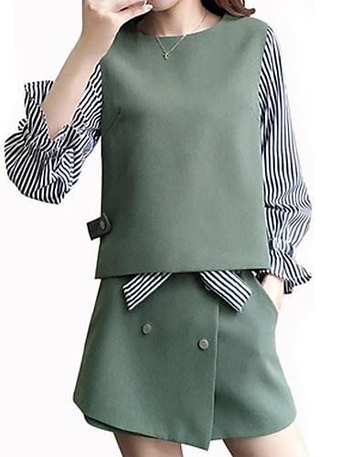 72b665350 Mujer Básico Algodón Delgado Camisa - Un Color Pantalón / Primavera / Otoño
