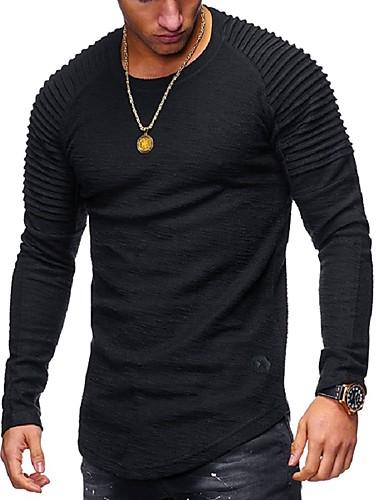 voordelige Heren T-shirts & tanktops-Heren Standaard T-shirt Effen Ronde hals Zwart / Lange mouw