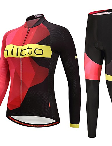 cheap Cycling Clothing-Miloto Women's Long Sleeve Cycling Jersey with Tights Cycling Jacket with Pants - Black / Red Plus Size Bike Thermal / Warm Reflective Strips Back Pocket Winter Sports Fleece Mountain Bike MTB Road