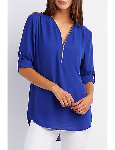 povoljno Ženske majice-Majica s rukavima Žene Dnevno Jednobojni V izrez Svjetloplav