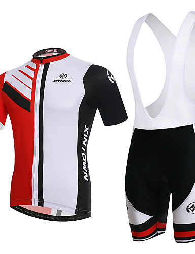 cheap Cycling Clothing-XINTOWN Men's Women's Short Sleeve Cycling Jersey with Bib Shorts Red and White Plus Size Bike Clothing Suit Breathable 3D Pad Quick Dry Ultraviolet Resistant Winter Sports Elastane Fashion Mountain