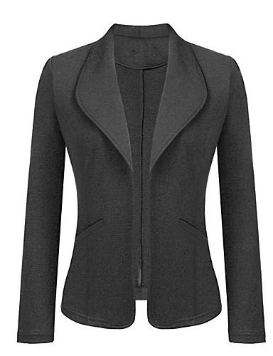 billige Ytterklær til damer-Dame Arbeid Normal Frakk, Ensfarget Aftæpning Langermet Polyester Mørkegrå / Navyblå / Grå