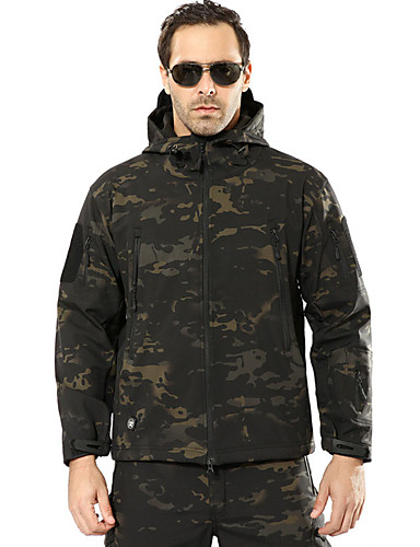 Men's Camo / Camouflage Hunting Jacket Hunting Fleece Jacket Outdoor Windproof Rain Waterproof Softshell Jacket Autumn / Fall Winter 100% Polyester Flannel ...