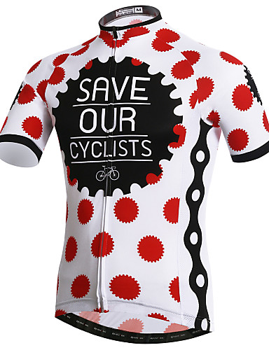 cheap Cycling Clothing-XINTOWN Men's Short Sleeve Cycling Jersey Red and White Polka Dot Bike Jersey Top Breathable Quick Dry Ultraviolet Resistant Sports Elastane Terylene Lycra Mountain Bike MTB Road Bike Cycling