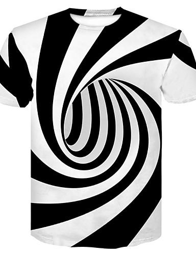 Недорогие До $9.99-Муж. Для клуба С принтом Футболка Круглый вырез Классический / Уличный стиль Контрастных цветов Черное и белое Белый XXL / С короткими рукавами / Лето