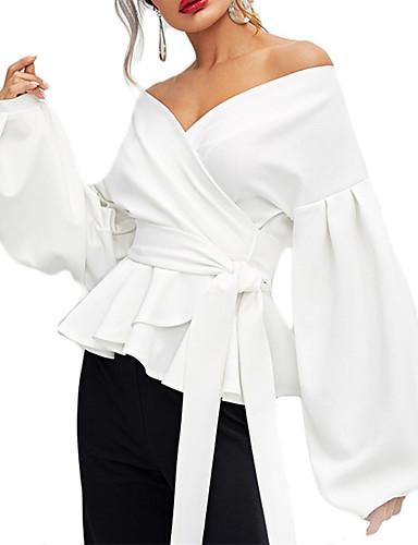 abordables Hauts pour Femmes-Chemise Femme, Couleur Pleine Lacet Elégant Col en V Vert