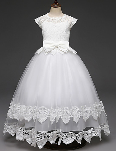 d422ff38cbd Princess Long Length Flower Girl Dress - Lace   Tulle Cap Sleeve Scalloped  Neckline with Lace   Belt by LAN TING Express