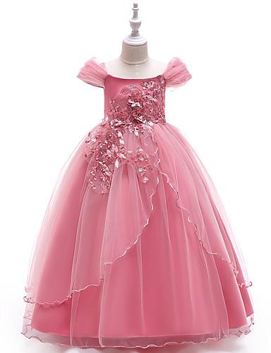 فستان طويل للأرض كم قصير لون سادة مناسب للحفلات / مناسب للعطلات رياضي Active / حلو للفتيات أطفال