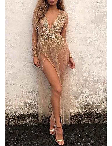 voordelige Maxi-jurken-Dames Club Sexy Jurk Split Print Diepe V-hals Maxi Hoge taille / Hoge taille