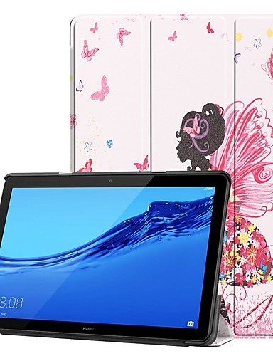 Кейс для Назначение Huawei Huawei Mediapad T5 10 / Huawei MediaPad T3 8.0 / Huawei MediaPad T3 7.0 Защита от удара / со стендом / Ультратонкий Чехол Соблазнительная девушка / Мультипликация Твердый