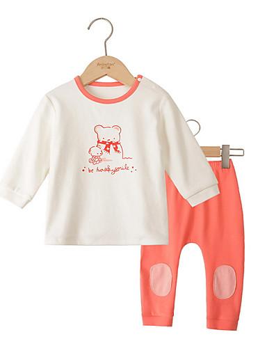 Baby Pige Basale Daglig Ensfarvet Langærmet Bomuld Tøjsæt Blå