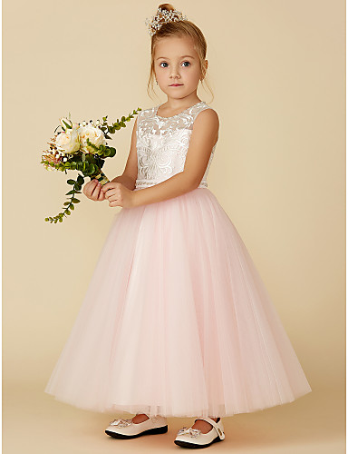 f130569a1ef0f Ball Gown Ankle Length Flower Girl Dress - Lace / Tulle Sleeveless Jewel  Neck with Lace / Sash / Ribbon by LAN TING BRIDE®