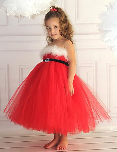 6d4064733afe cheap Flower Girl Dresses-Princess Midi Flower Girl Dress - Cotton / Satin  Chiffon Sleeveless