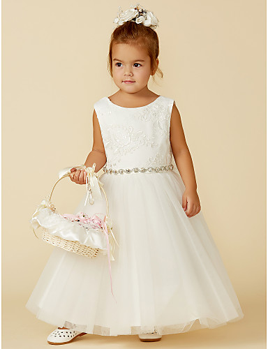 6aacba40ac Princess Floor Length Flower Girl Dress - Lace   Tulle Sleeveless Jewel  Neck with Bow(s)   Lace   Sash   Ribbon by LAN TING BRIDE®