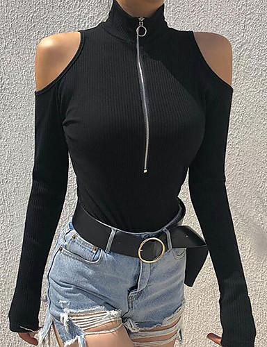 abordables Hauts pour Femmes-Le maillot de corps Femme, Couleur Pleine Basique Mao Mince Noir