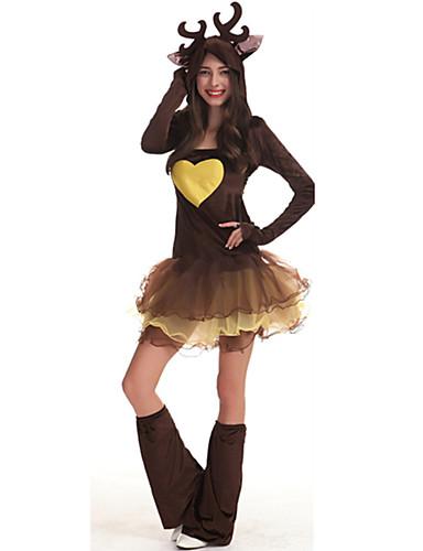 d7931c266bdaa Déguisement Halloween Femme Renne Animal Noël Costume de Cosplay Père Noël  Noël Nouvel an Marron Costumes