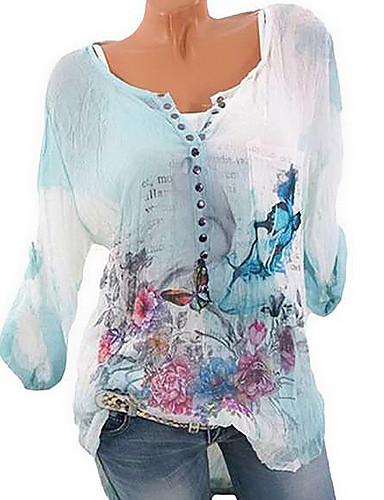 billige Dametopper-V-hals Store størrelser Skjorte Dame - 3D Grunnleggende Blå XXXL / Vår / Sommer