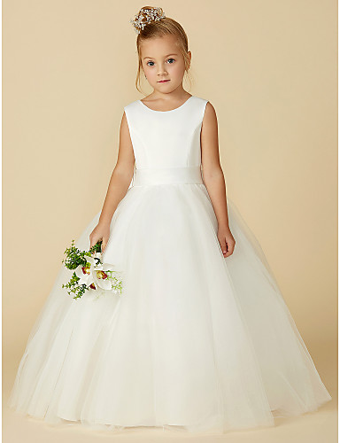 A-Line Floor Length Flower Girl Dress - Satin   Tulle Sleeveless Jewel Neck  with Bow(s)   Buttons by LAN TING BRIDE® f9d49cf67791