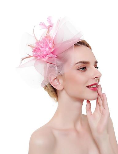 abordables Chapeau & coiffure-Tulle / Plumes Fascinators / Coiffe / Casque avec Plume 1 Pièce Fête / Soirée / Business / Cérémonie / Mariage Casque