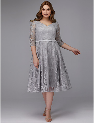 bc60e76947 Plus Size A-Line V Neck Tea Length Lace Cocktail Party Dress with Sash    Ribbon by TS Couture®