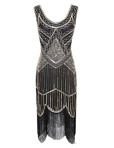 cheap Cosplay & Costumes-Tassel 1920s The Great Gatsby Costume Women's Flapper Dress Red+Black / Golden+Black / Burgundy Vintage Cosplay Sequin Party Prom Sleeveless Knee Length