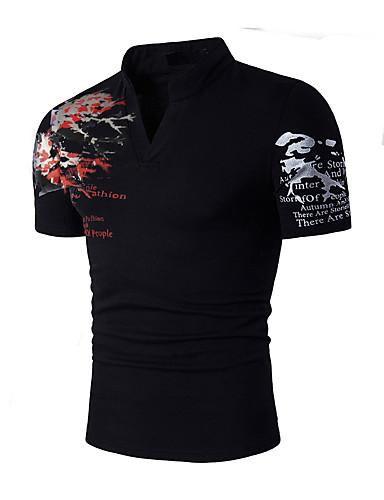 hesapli Erkek Tişörtleri ve Atletleri-Erkek Pamuklu Dik Yaka İnce - Tişört Desen Actif / Boho Spor Siyah / Kısa Kollu / Yaz