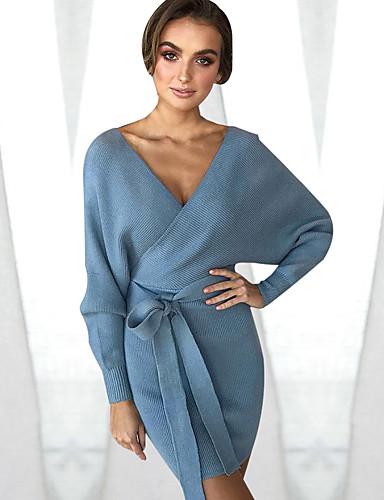 0d35761a949 Women's Daily Mini Sweater Dress - Solid Colored Wrap V Neck Fall Orange  Gray Light Blue M L XL