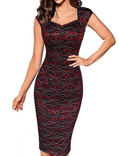 זול שמלות נשים-לב (סוויטהארט) מעל הברך אחיד - שמלה נדן מידות גדולות מתוחכם בגדי ריקוד נשים