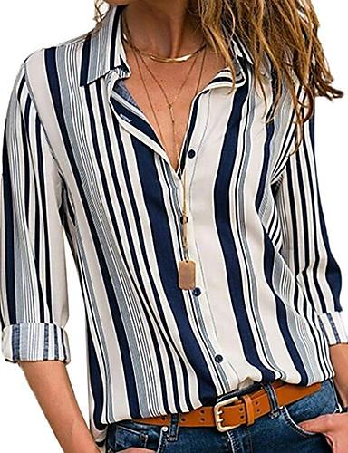 povoljno Ženske majice-Veći konfekcijski brojevi Majica Žene - Osnovni Dnevno Prugasti uzorak Kragna košulje Obala