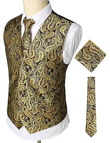 voordelige Herenblazers & kostuums-Heren Werk / Club Zakelijk / Luxe / Vintage Lente / Herfst / Winter Normaal Vest, Paisley V-hals Mouwloos Katoen / Spandex Print Goud / Business Casual / Slank