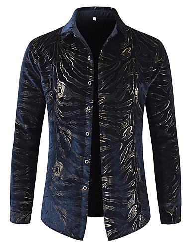 voordelige Herenoverhemden-Heren Luxe Print Overhemd Katoen, Feest / Club Gestreept Klassieke boord Marineblauw / Lange mouw
