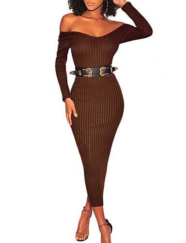 77c554db4de Women's Party Basic Skinny Bodycon Dress Off Shoulder White Black Army Green  L XL XXL