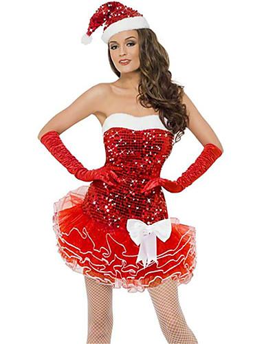ff0104d6f9e27 Uniforms Costume Christmas Dress Santa Clothes Adults Highschool Women's Dresses  Christmas Christmas Halloween Carnival Festival / Holiday Spandex Polyester  ...