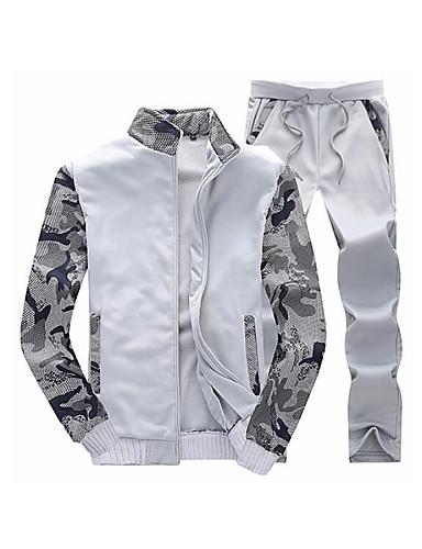 abordables Survêtements pour Homme-Homme Basique Pantalon - camouflage Gris Foncé / Mao / Manches Longues