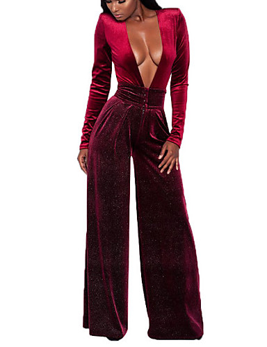 cheap Women's Tops-Women's Plus Size Party / Going out Sexy Deep V Blue Gray Wine Wide Leg Jumpsuit, Solid Colored XL XXL XXXL Velvet Long Sleeve Spring Fall