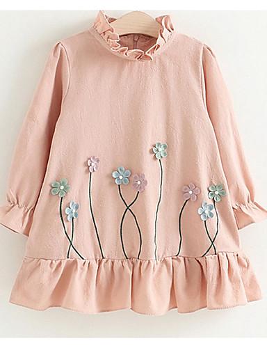 Dijete koje je tek prohodalo Djevojčice slatko Geometrijski oblici Dugih rukava Haljina Blushing Pink