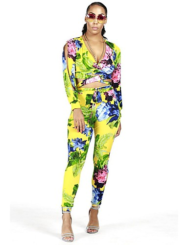 f4c6e9bf8c4d Women s Daily Active V Neck Yellow Romper