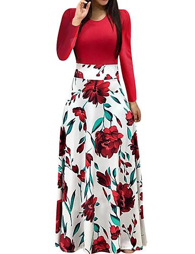 billige Kjoler-Dame Ferie Ut på byen Elegant A-linje Kjole - Blomstret, Trykt mønster Maksi Rose Dusty Rose
