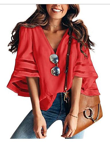 povoljno Ženske majice-Bluza Žene Dnevno Jednobojni V izrez Lila-roza / flare rukav