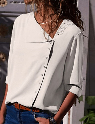 povoljno Majica-Majica Žene - Osnovni Dnevno Jednobojni Kragna košulje Slim Dusty Rose Navy Plava