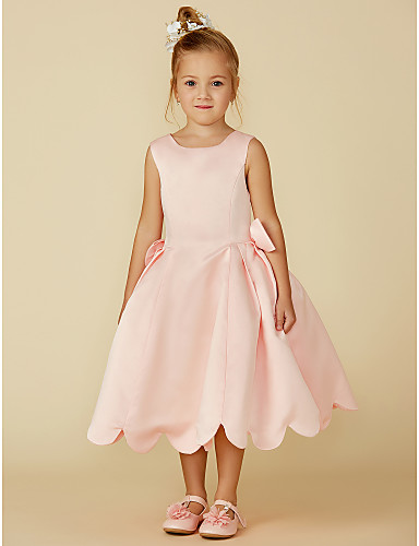 78bcf834120a Ball Gown Tea Length Flower Girl Dress - Satin Sleeveless Jewel Neck with  Bow(s) by LAN TING BRIDE®