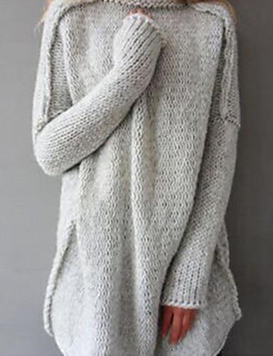 abordables Hauts pour Femmes-Femme Quotidien Couleur Pleine Manches Longues Ample Longue Pullover, Col Roulé Hiver Coton Marine / Gris / Marron clair M / L / XL