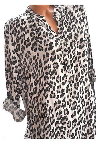 abordables Hauts pour Femmes-Tee-shirt Femme, Léopard - Coton Basique Col en V Ample Rouge
