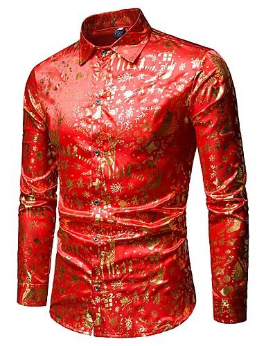 abordables Camisas de Hombre-Hombre Lujo / Básico Discoteca Lentejuelas Camisa Gráfico Rojo L / Manga Larga