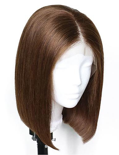 povoljno Perike s ljudskom kosom-Virgin kosa Remy kosa Full Lace Perika Bob frizura Stepenasta frizura Kardashian stil Brazilska kosa Prirodno ravno Silky Straight Tamnosmeđa Perika 150% Gustoća kose Nježno Prirodno Prirodna linija