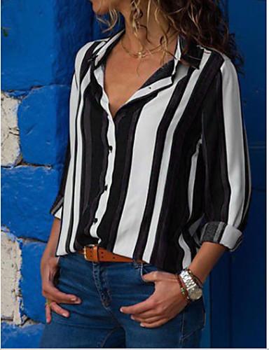 billige Dametopper-Bomull Skjortekrage Skjorte Dame - Stripet Lilla