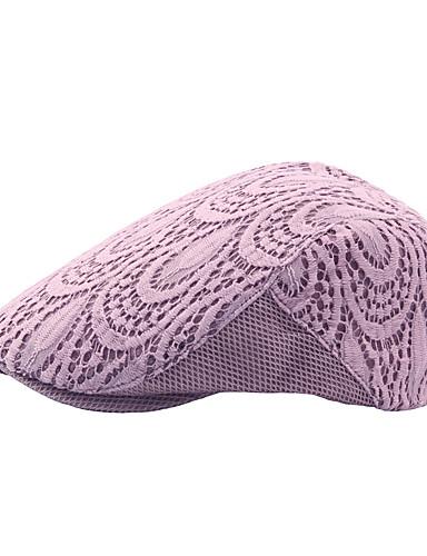 billige Tilbehør til damer-Dame Vintage Aktiv Beret Jacquardvevnad Bomull Polyester Alle årstider Beige Lilla Lyseblå