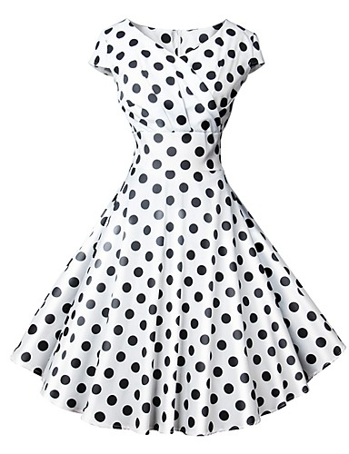 Women s Holiday Vintage 1950s A Line Dress - Polka Dot Print V Neck Spring  Blue White Black L XL XXL cddd0e0d2