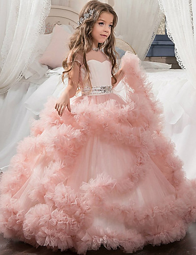 2f3a7fb7faf Ball Gown   Princess Maxi Flower Girl Dress - Polyester Short Sleeve Illusion  Neck with Beading   Bow(s)   Cascading Ruffles by LAN TING Express